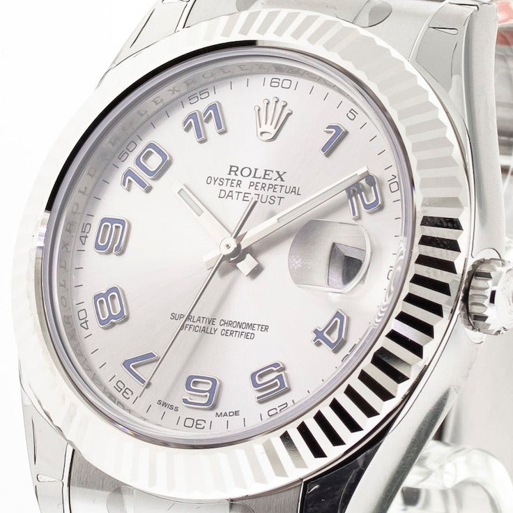 Rolex Datejust II 41mm White Gold & Steel Rhodium Arabic Dial & Fluted Bezel 116334-Da Vinci Fine Jewelry