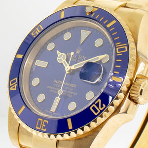 Rolex Submariner Date 40mm Yellow Gold Blue Dial & Blue Bezel 116618BL-Da Vinci Fine Jewelry