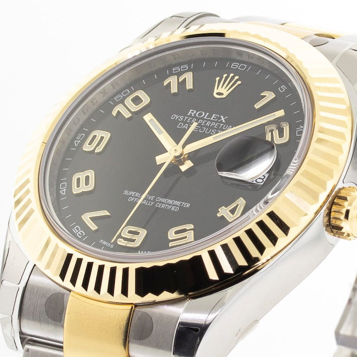 Rolex Datejust II 41mm Yellow Gold & Steel Black Roman Dial Fluted Bezel 116333-Da Vinci Fine Jewelry