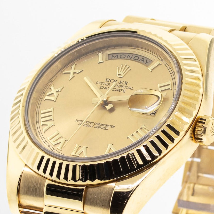 Rolex Day-Date II 41mm Yellow Gold Champagne Roman Dial & Fluted Bezel 218238-Da Vinci Fine Jewelry