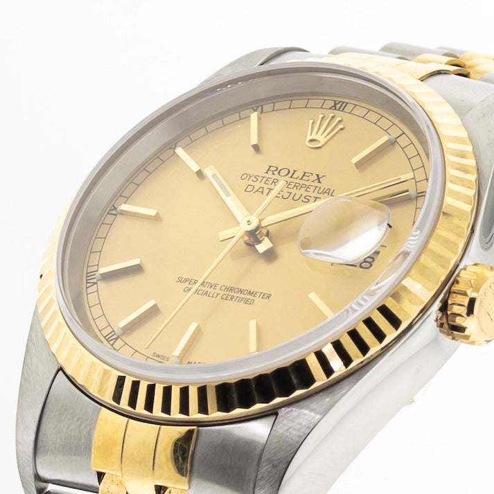 Rolex Datejust 36mm Yellow Gold & Steel Champagne Stick Dial Fluted Bezel 16233-Da Vinci Fine Jewelry