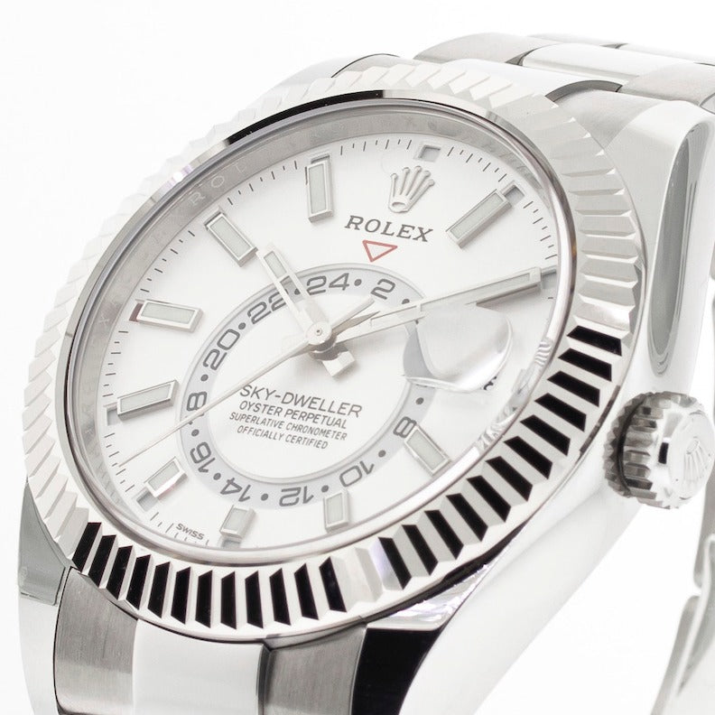Rolex Sky-Dweller 42mm White Gold & Steel White Index Dial & Fluted Bezel 326934-Da Vinci Fine Jewelry