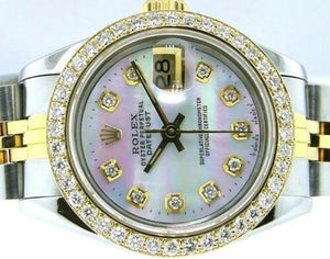Rolex Datejust 18k Yellow Gold Steel White Mother of Pearl Diamond Dial and Diamond Bezel 69173-Da Vinci Fine Jewelry