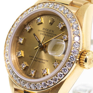 Rolex Datejust 18k Yellow Gold 26mm Diamond Dial And Bezel 69178-Da Vinci Fine Jewelry