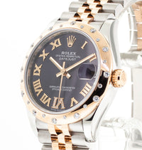 Rolex Lady-Datejust 31mm Everose Gold & Steel Aubergine Roman Dial & Diamond Bezel 278341-Da Vinci Fine Jewelry