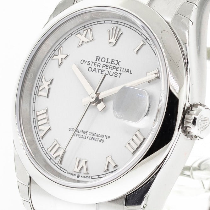 Rolex Datejust 36mm Stainless Steel White Roman Dial & Domed Bezel 126200-Da Vinci Fine Jewelry