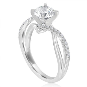 Round Diamond Pave Twist Engagement Ring-Da Vinci Fine Jewelry