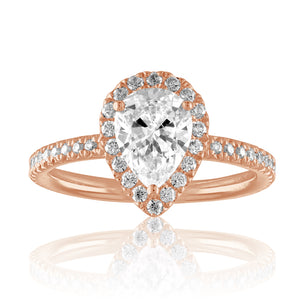 Pear Shape Swan Halo Engagement Ring-Da Vinci Fine Jewelry