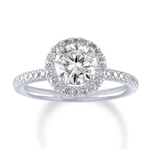 Round Swan Halo Engagement Ring-Da Vinci Fine Jewelry