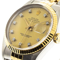 Rolex Datejust 36mm with Champagne Diamond Dial Fluted Bezel 16013-Da Vinci Fine Jewelry