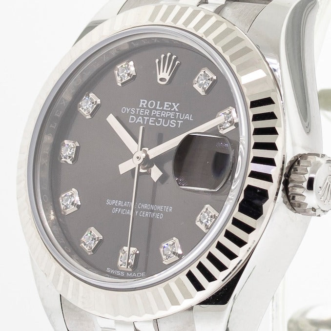 Rolex Lady-Datejust 28mm White Gold & Steel Dark Grey Dial & Fluted Bezel 279174-Da Vinci Fine Jewelry