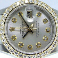 Rolex Datejust 18K Yellow Gold Steel Silver Diamond Dial and Diamond Bezel 69173-Da Vinci Fine Jewelry