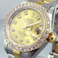 Rolex Lady-Datejust 26mm Yellow Gold & Steel Champagne Diamond Dial Bezel 69173-Da Vinci Fine Jewelry