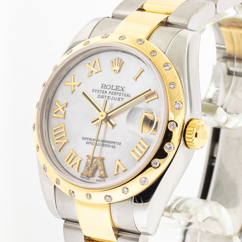 ROLEX DATEJUST 31MM STEEL & YELLOW GOLD MOP DIAMOND DIAL & BEZEL 178273-Da Vinci Fine Jewelry