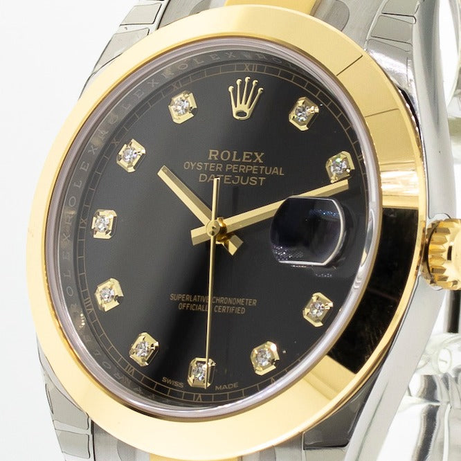 Rolex Datejust II 41mm Yellow Gold & Steel Black Diamond Dial Smooth Bezel 126303-Da Vinci Fine Jewelry