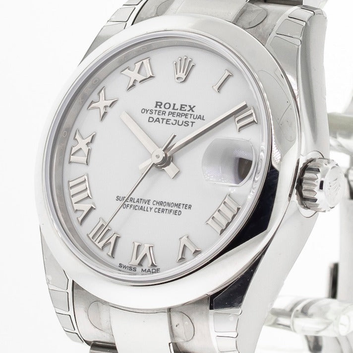 Rolex Lady-Datejust 31mm Stainless Steel White Roman Dial & Domed Bezel 178240-Da Vinci Fine Jewelry