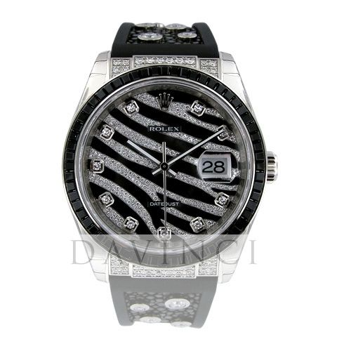 Rolex White Gold Datejust Royal Black 36 Watch - 60 Baguette Black Sapphires Bezel - Black And Diamond Paved Dial - Galuchat - 116199 SANR-Da Vinci Fine Jewelry