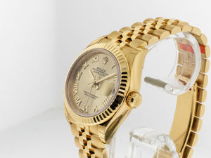 Rolex Lady-Datejust 28mm Yellow Gold Champagne Roman Dial & Fluted Bezel 279178-Da Vinci Fine Jewelry