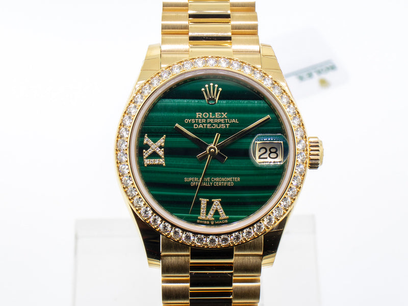 Rolex Datejust Yellow Gold 31mm Diamond Bezel and Malachite Dial 278288rbr-Da Vinci Fine Jewelry