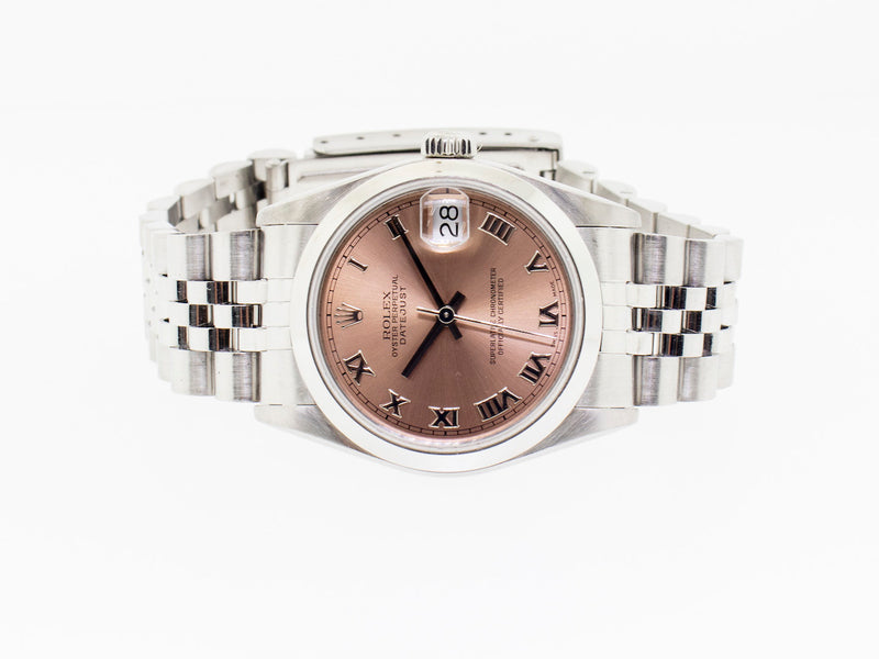 Rolex Datejust Steel and White Gold 31mm Pink Roman Dial Jubilee 68240-Da Vinci Fine Jewelry