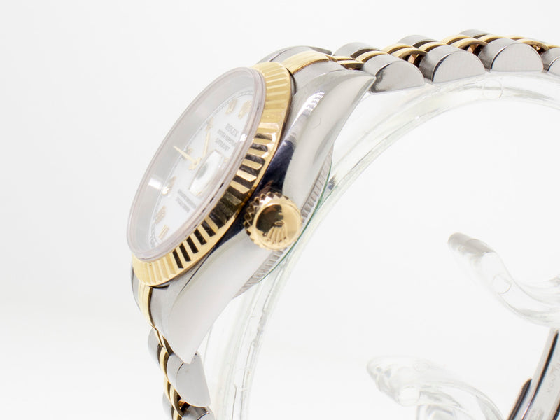 Rolex Datejust Steel and Yellow Gold 26mm Fluted Bezel White Roman Dial 79173-Da Vinci Fine Jewelry
