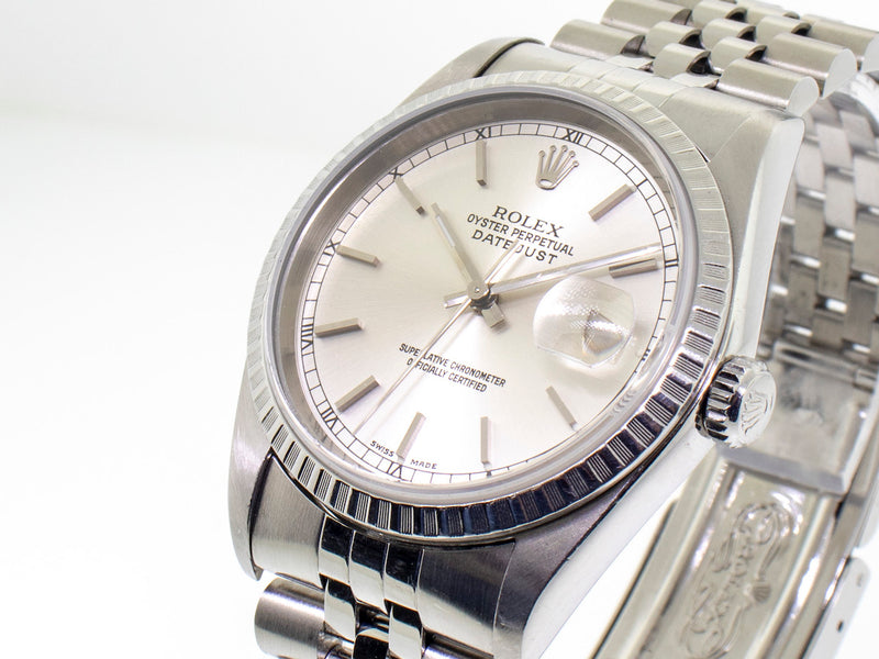 Rolex Datejust Silver Stick Dial 36mm Stainless Steel Jubilee 16220-Da Vinci Fine Jewelry