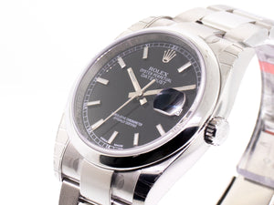 Rolex Datejust Steel 36mm Domed Bezel Black Index Dial Oyster 116200-Da Vinci Fine Jewelry
