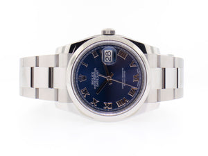 Rolex Datejust 36mm Stainless Steel Blue Roman Dial & Domed Bezel 116200BLRO-Da Vinci Fine Jewelry
