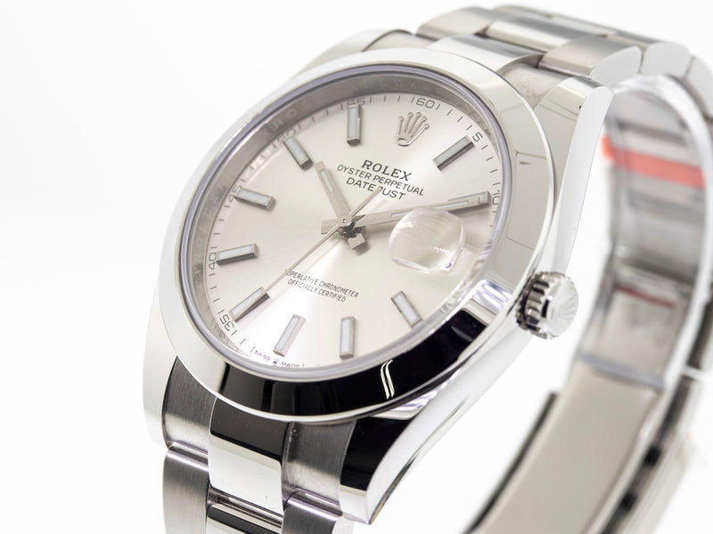 Rolex Datejust Stainless Steel 41mm Smooth Bezel Silver Index Dial 126300sio-Da Vinci Fine Jewelry