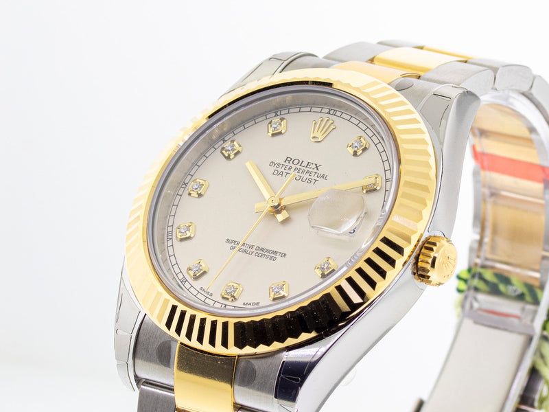 Rolex Datejust 41mm Yellow Gold & Steel White Diamond Dial & Fluted Bezel 116333-Da Vinci Fine Jewelry