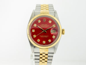 Rolex Datejust Stainless Steel And Yellow Gold 36mm Red Diamond Dial 16013-Da Vinci Fine Jewelry