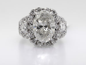 18k White Gold Diamond Ring 6.05ct H/si3 Oval Cut with 1.50 Total Ct On Mounting-Da Vinci Fine Jewelry