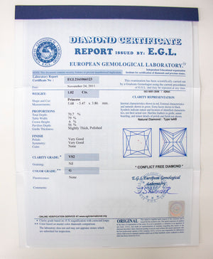 EGL Certified Platinum Diamond Ring 2.54ct F/VS1 Princess Cut Center Stone-Da Vinci Fine Jewelry