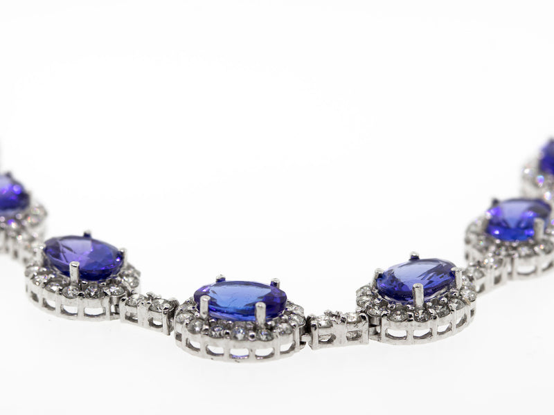 14.59ct Tanzanite Necklace w/ 4.94ct of G/VS2 Diamonds and 18k White Gold-Da Vinci Fine Jewelry