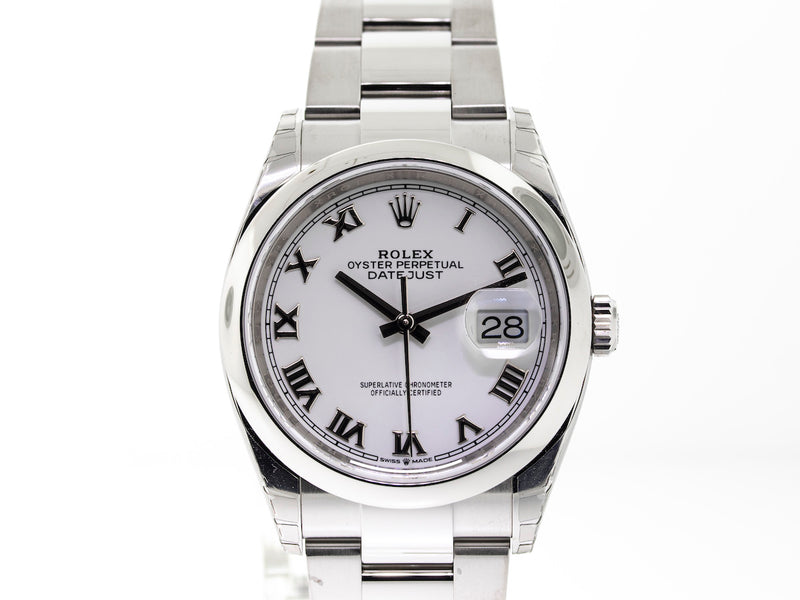 Rolex Datejust Steel 36mm Domed Bezel White Roman Dial Oyster Bracelet 126200-Da Vinci Fine Jewelry