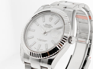 Rolex Datejust II 18k White Gold & Stainless Steel 41mm White Dial 116334-Da Vinci Fine Jewelry