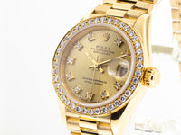 Rolex 18k Yellow Gold Datejust 26mm President Diamond Dial & Bezel 69138-Da Vinci Fine Jewelry