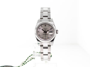 ROLEX STEEL AND 18K WHITE GOLD LADY-DATEJUST 26MM SILVER DIAMOND DIAL 179174-Da Vinci Fine Jewelry