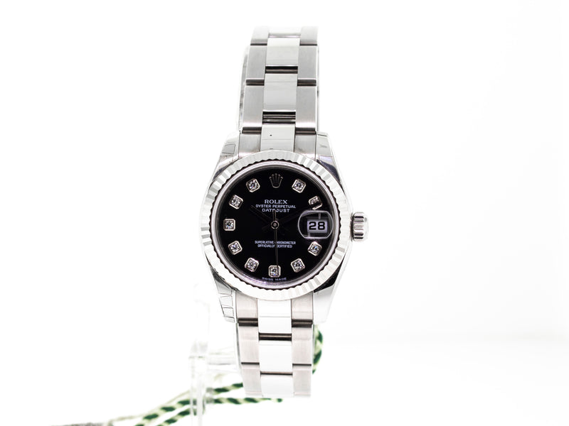 ROLEX STEEL AND WHITE GOLD LADY-DATEJUST 26MM BLACK DIAMOND DIAL 179174-Da Vinci Fine Jewelry