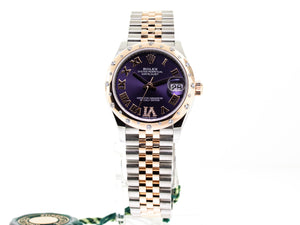 ROLEX STEEL AND EVEROSE GOLD DATEJUST 31MM DIAMOND BEZEL AUBERGINE DIAL 278341-Da Vinci Fine Jewelry