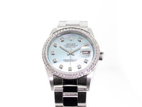 ROLEX STAINLESS STEEL DATEJUST 36MM BLUE MOTHER OF PEARL & DIAMOND BEZEL 16200-Da Vinci Fine Jewelry
