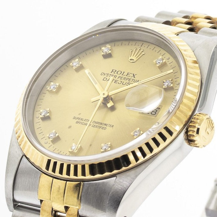 Rolex Datejust 36mm Yellow Gold Steel Champagne Diamond Dial Fluted Bezel 16233-Da Vinci Fine Jewelry
