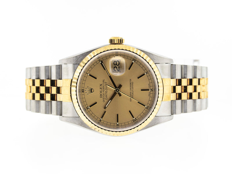 Rolex Datejust Two Tone 36mm Champagne Stick Dial 16233-Da Vinci Fine Jewelry
