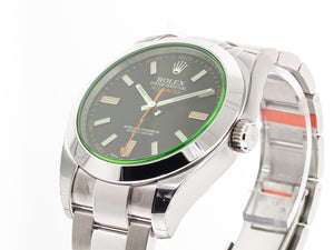Rolex Milgauss Stainless Steel 40mm Green Crystal Black Dial 116400-Da Vinci Fine Jewelry
