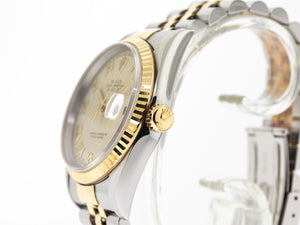 Rolex Datejust Stainless Steel & 18K Yellow Gold 36 mm Ivory Pyramid Dial 16233-Da Vinci Fine Jewelry