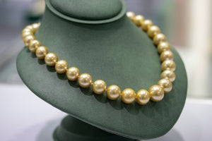 Yellow South Sea Pearls - Necklace And Earrings Set with Diamond Clasp-Da Vinci Fine Jewelry