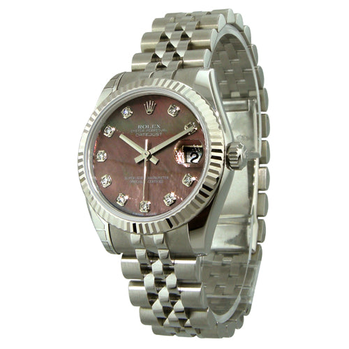 Rolex Lady-Datejust 31mm White Gold Steel Black MOP Diamond Dial 178274-Da Vinci Fine Jewelry