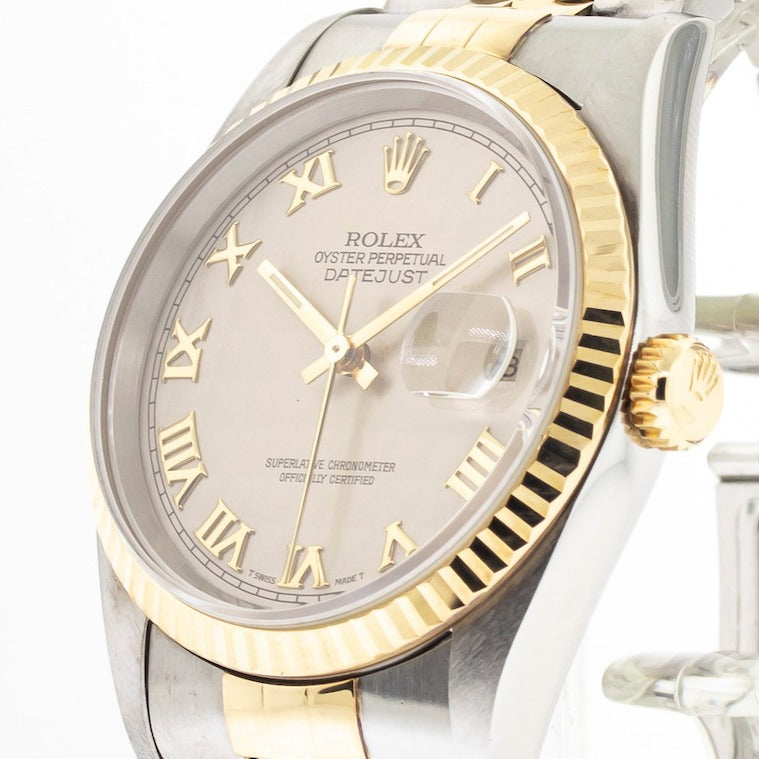 Rolex Datejust 36mm Yellow Gold & Steel Ivory Pyramid Dial & Fluted Bezel 16233-Da Vinci Fine Jewelry