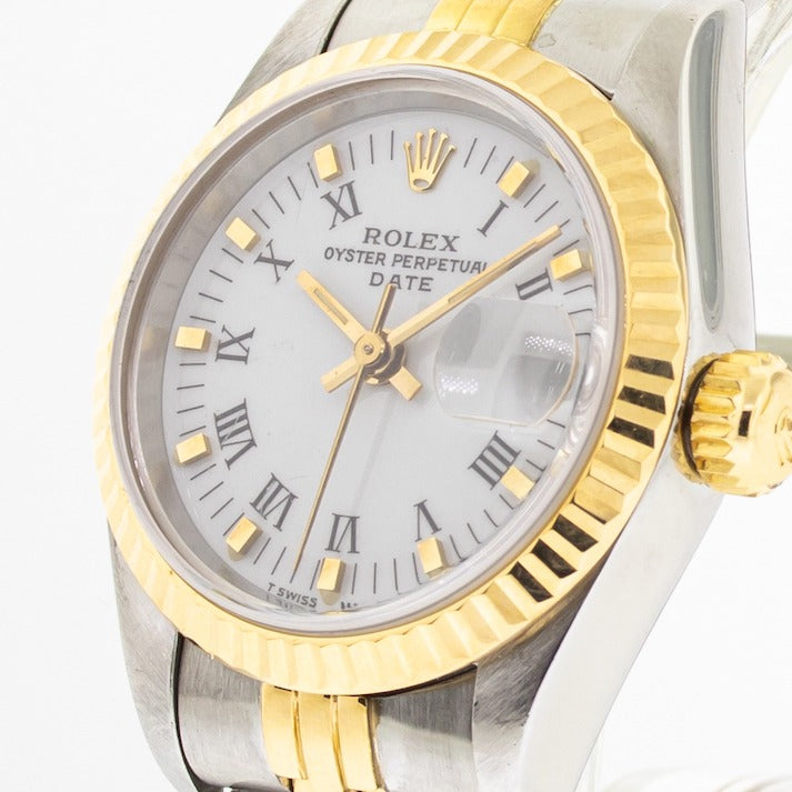 Rolex Lady-Datejust 26mm Yellow Gold & Steel White Roman Dial Fluted Bezel 69173-Da Vinci Fine Jewelry
