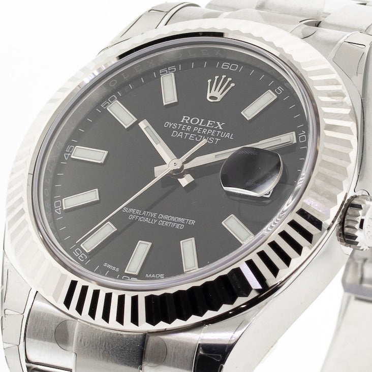 Rolex Datejust II 41mm White Gold & Steel Black Index Dial & Fluted Bezel 116334-Da Vinci Fine Jewelry